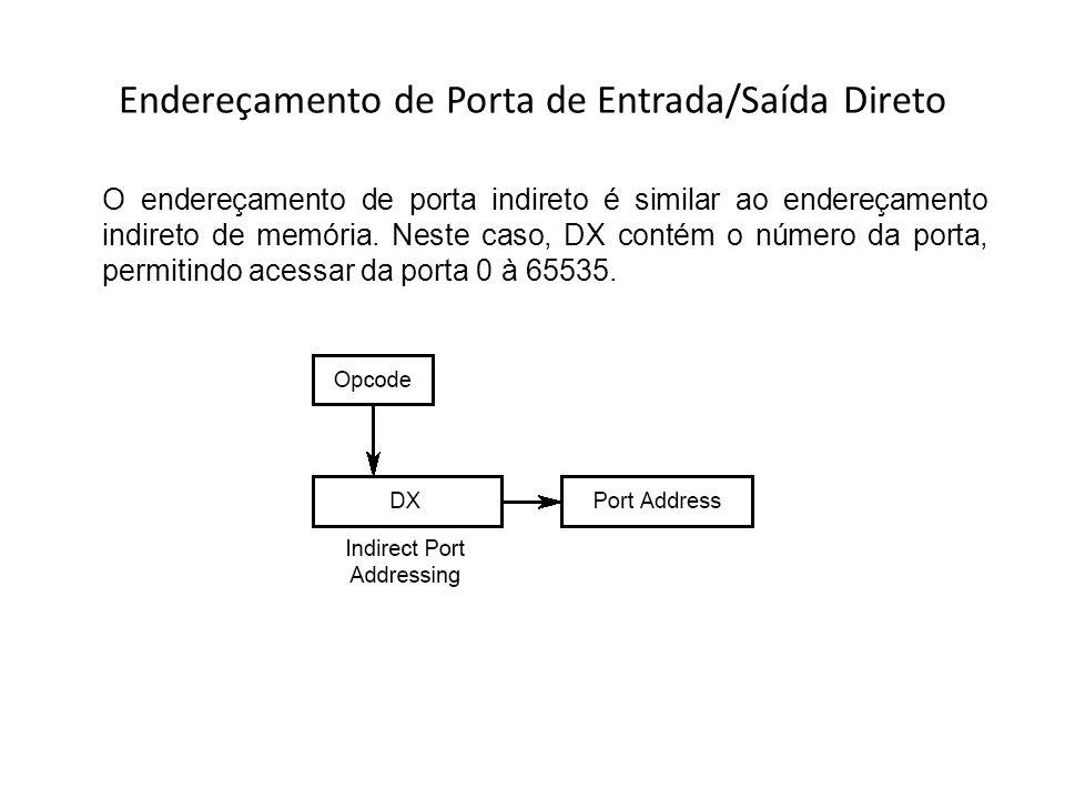 Endereçamento de Porta de Entrada/Saída Direto O endereçamento de porta indireto é similar ao endereçamento indireto de memória. Neste caso, DX contém