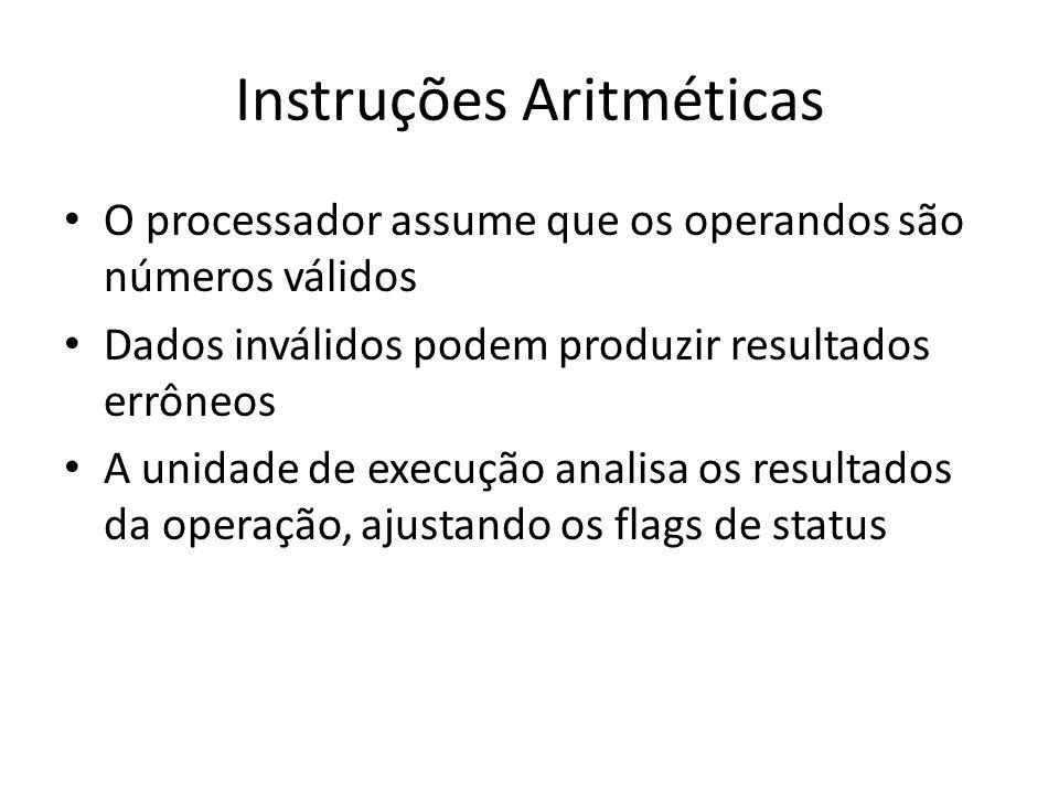Instruções Aritméticas O processador assume que os operandos são números válidos Dados inválidos podem produzir resultados errôneos A unidade de execu