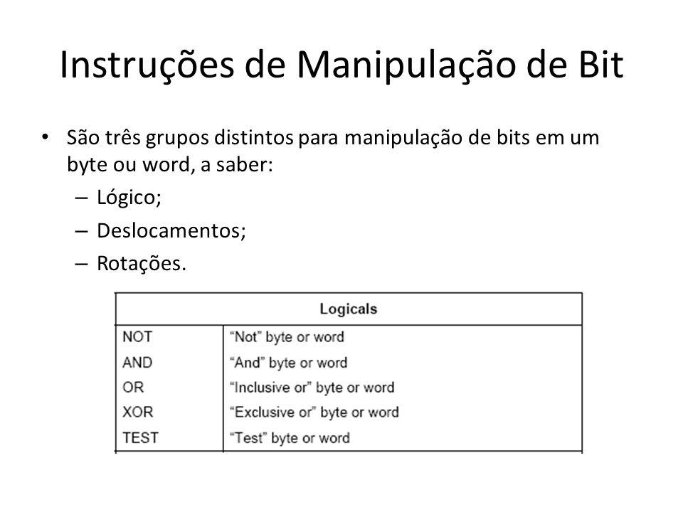 Instruções de Manipulação de Bit São três grupos distintos para manipulação de bits em um byte ou word, a saber: – Lógico; – Deslocamentos; – Rotações