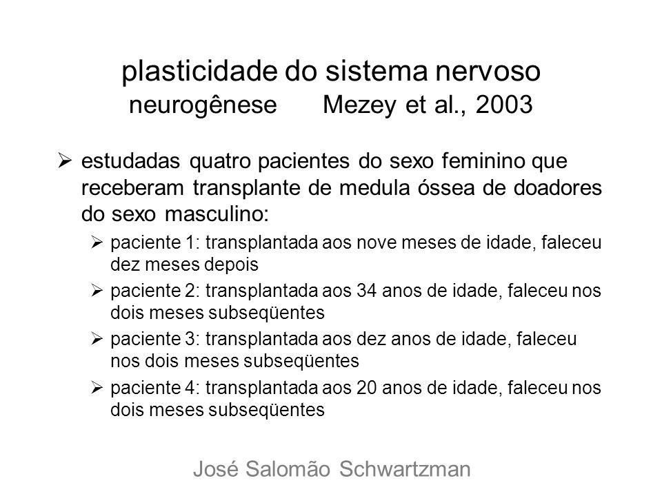 plasticidade do sistema nervoso neurogênese Mezey et al., 2003 estudadas quatro pacientes do sexo feminino que receberam transplante de medula óssea d