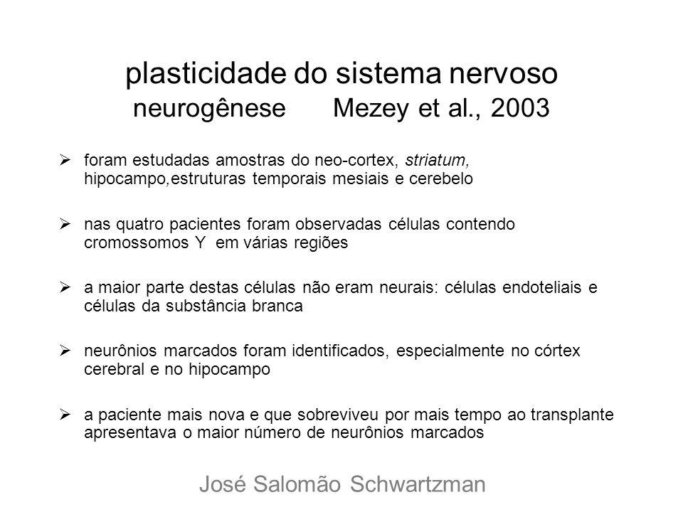 plasticidade do sistema nervoso neurogênese Mezey et al., 2003 foram estudadas amostras do neo-cortex, striatum, hipocampo,estruturas temporais mesiai