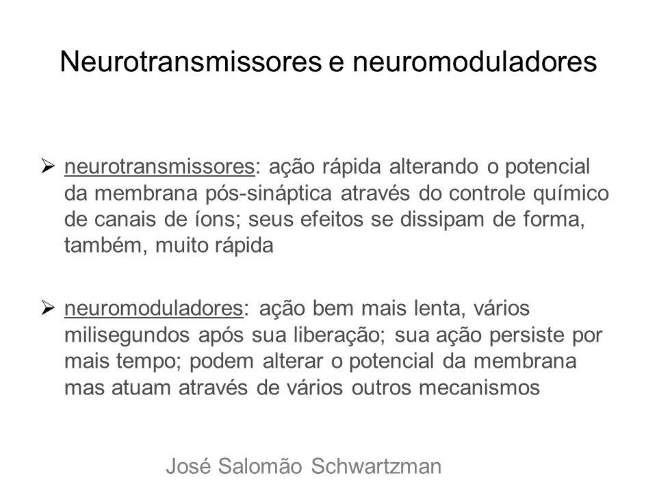 Neurotransmissores e neuromoduladores neurotransmissores: ação rápida alterando o potencial da membrana pós-sináptica através do controle químico de c