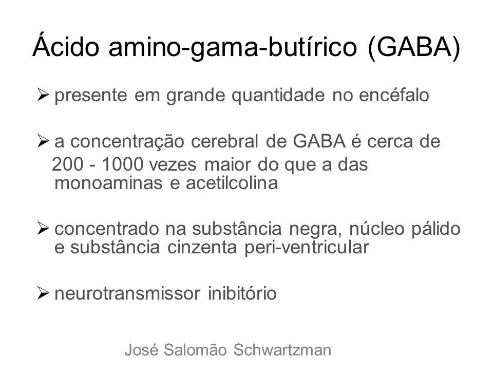 Ácido amino-gama-butírico (GABA) presente em grande quantidade no encéfalo a concentração cerebral de GABA é cerca de 200 - 1000 vezes maior do que a
