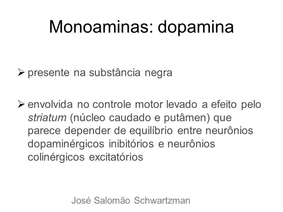 Monoaminas: dopamina presente na substância negra envolvida no controle motor levado a efeito pelo striatum (núcleo caudado e putâmen) que parece depe