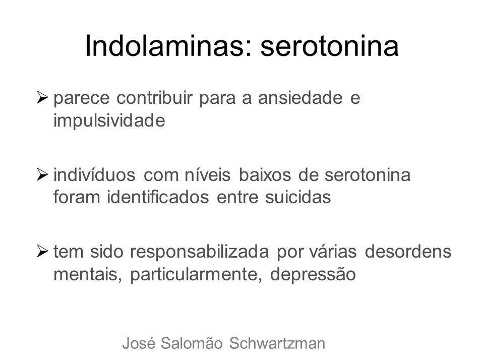 Indolaminas: serotonina parece contribuir para a ansiedade e impulsividade indivíduos com níveis baixos de serotonina foram identificados entre suicid