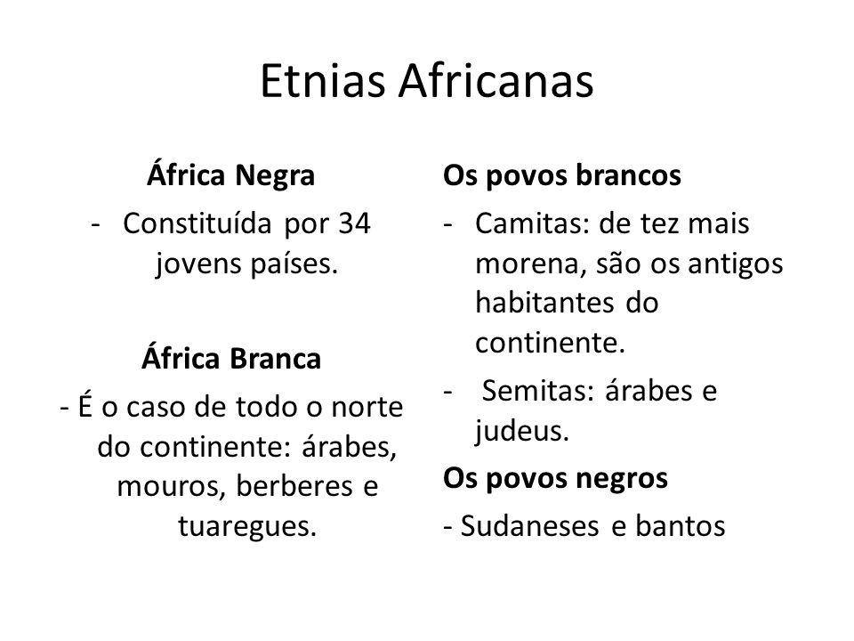 Etnias Africanas África Negra -Constituída por 34 jovens países. África Branca - É o caso de todo o norte do continente: árabes, mouros, berberes e tu