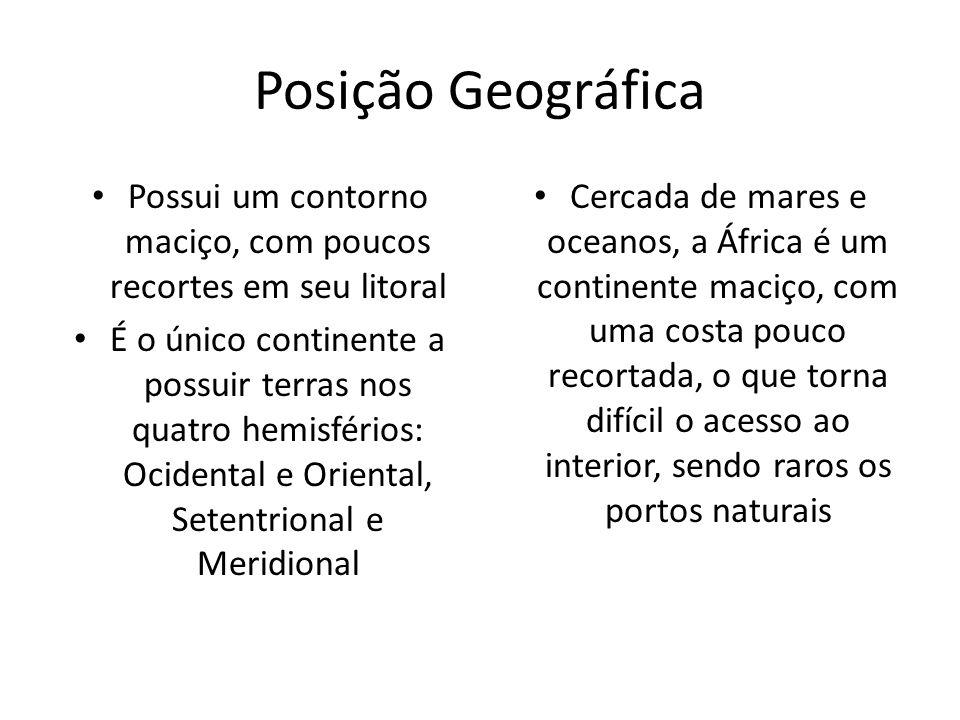 Posição Geográfica Possui um contorno maciço, com poucos recortes em seu litoral É o único continente a possuir terras nos quatro hemisférios: Ocident