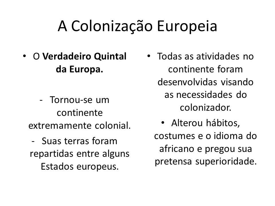 A Colonização Europeia O Verdadeiro Quintal da Europa. -Tornou-se um continente extremamente colonial. -Suas terras foram repartidas entre alguns Esta