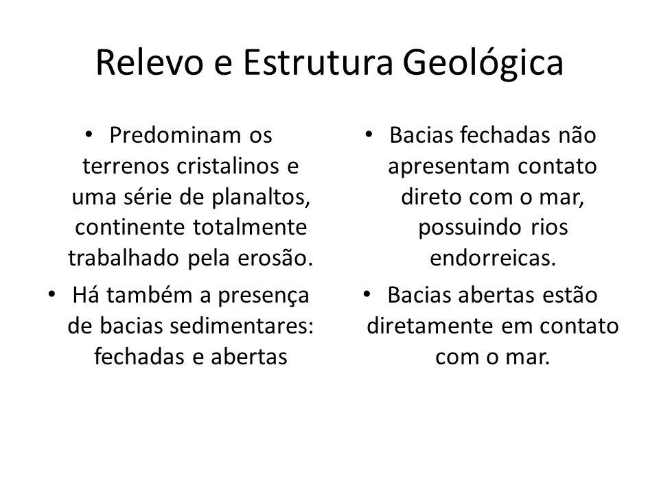 Relevo e Estrutura Geológica Predominam os terrenos cristalinos e uma série de planaltos, continente totalmente trabalhado pela erosão. Há também a pr