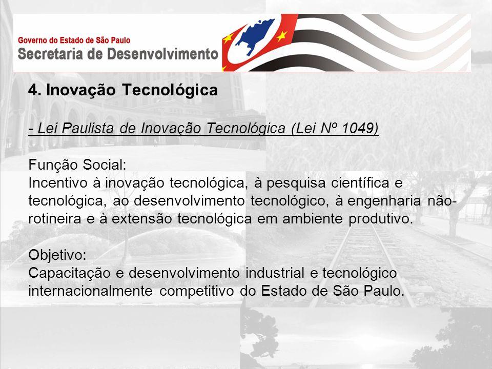 4. Inovação Tecnológica - Lei Paulista de Inovação Tecnológica (Lei Nº 1049) Função Social: Incentivo à inovação tecnológica, à pesquisa científica e
