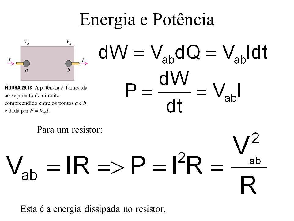Energia e Potência Para um resistor: Esta é a energia dissipada no resistor.