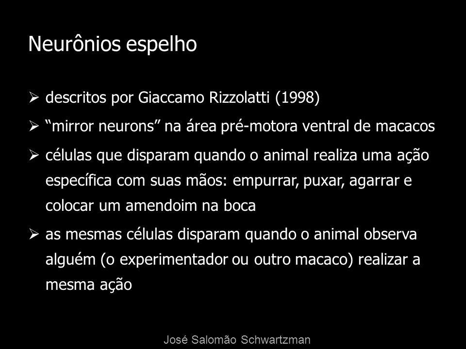 Neurônios espelho descritos por Giaccamo Rizzolatti (1998) mirror neurons na área pré-motora ventral de macacos células que disparam quando o animal r