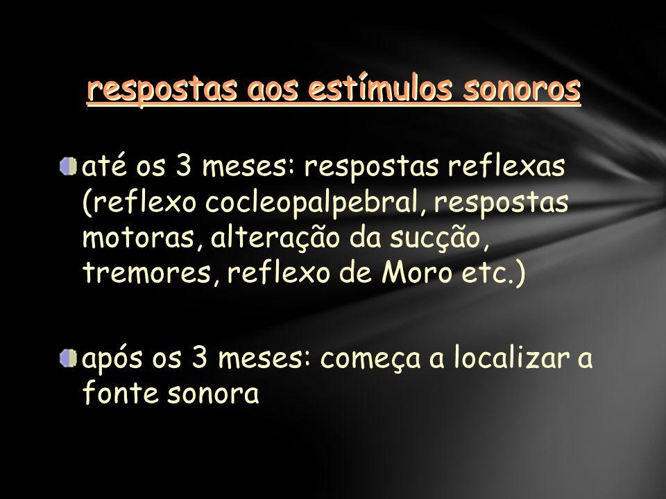 respostas aos estímulos sonoros até os 3 meses: respostas reflexas (reflexo cocleopalpebral, respostas motoras, alteração da sucção, tremores, reflexo