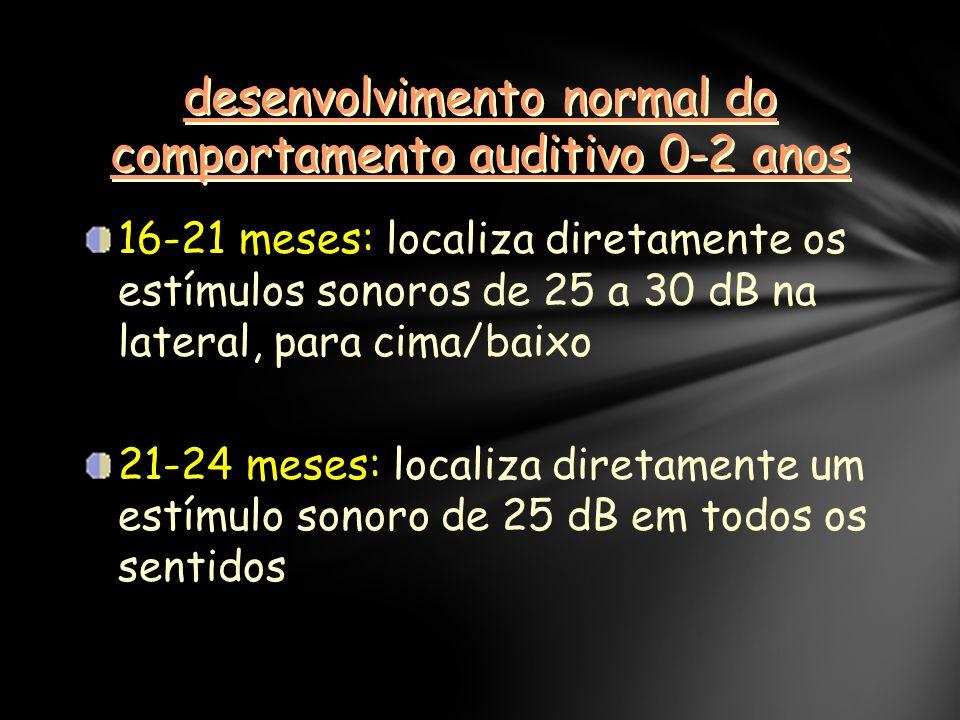 desenvolvimento normal do comportamento auditivo 0-2 anos 16-21 meses: localiza diretamente os estímulos sonoros de 25 a 30 dB na lateral, para cima/baixo 21-24 meses: localiza diretamente um estímulo sonoro de 25 dB em todos os sentidos