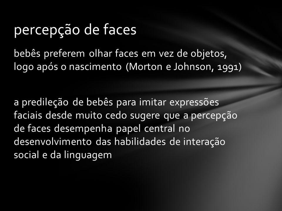 bebês preferem olhar faces em vez de objetos, logo após o nascimento (Morton e Johnson, 1991) a predileção de bebês para imitar expressões faciais desde muito cedo sugere que a percepção de faces desempenha papel central no desenvolvimento das habilidades de interação social e da linguagem percepção de faces