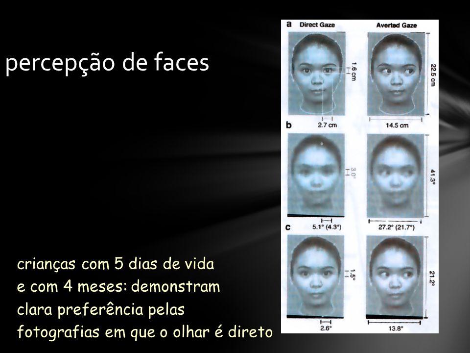 crianças com 5 dias de vida e com 4 meses: demonstram clara preferência pelas fotografias em que o olhar é direto