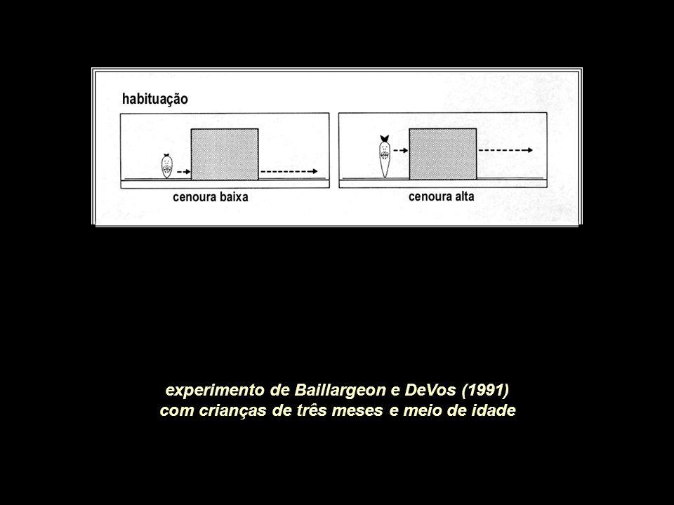 experimento de Baillargeon e DeVos (1991) com crianças de três meses e meio de idade