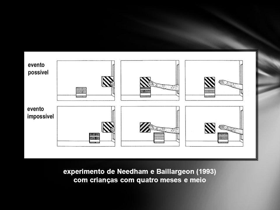 experimento de Needham e Baillargeon (1993) com crianças com quatro meses e meio
