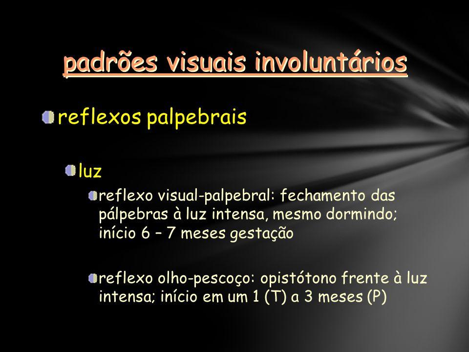 padrões visuais involuntários reflexos palpebrais luz reflexo visual-palpebral: fechamento das pálpebras à luz intensa, mesmo dormindo; início 6 – 7 meses gestação reflexo olho-pescoço: opistótono frente à luz intensa; início em um 1 (T) a 3 meses (P)