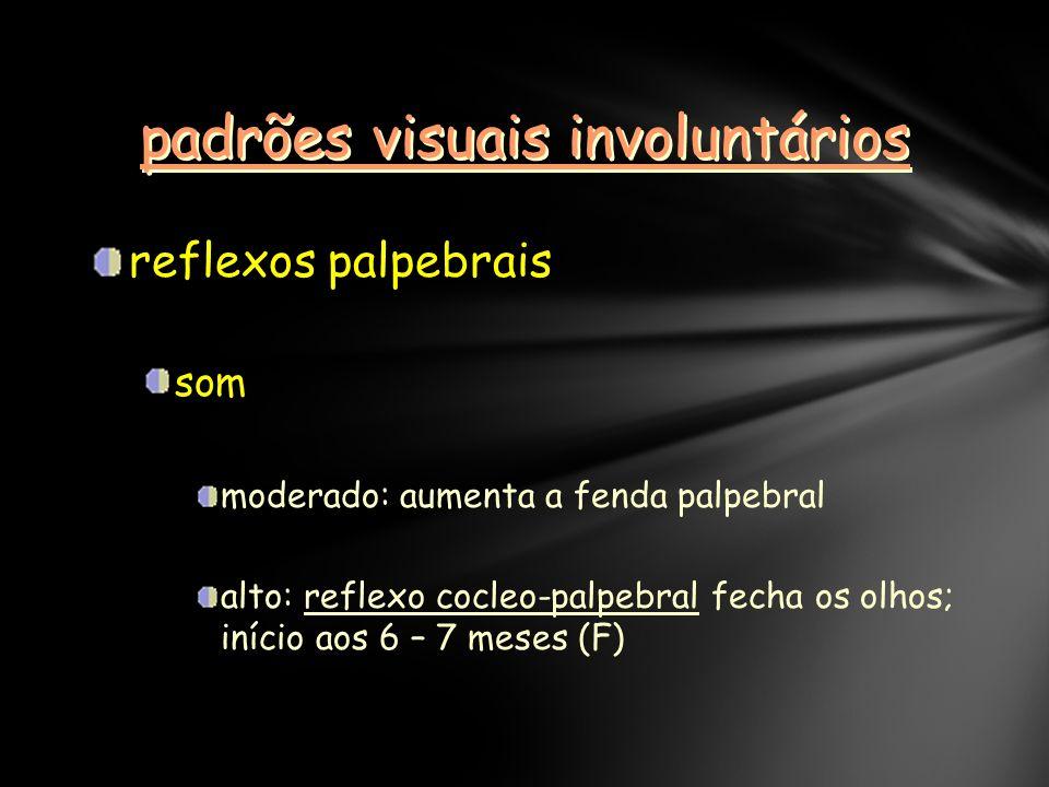 padrões visuais involuntários reflexos palpebrais som moderado: aumenta a fenda palpebral alto: reflexo cocleo-palpebral fecha os olhos; início aos 6 – 7 meses (F)