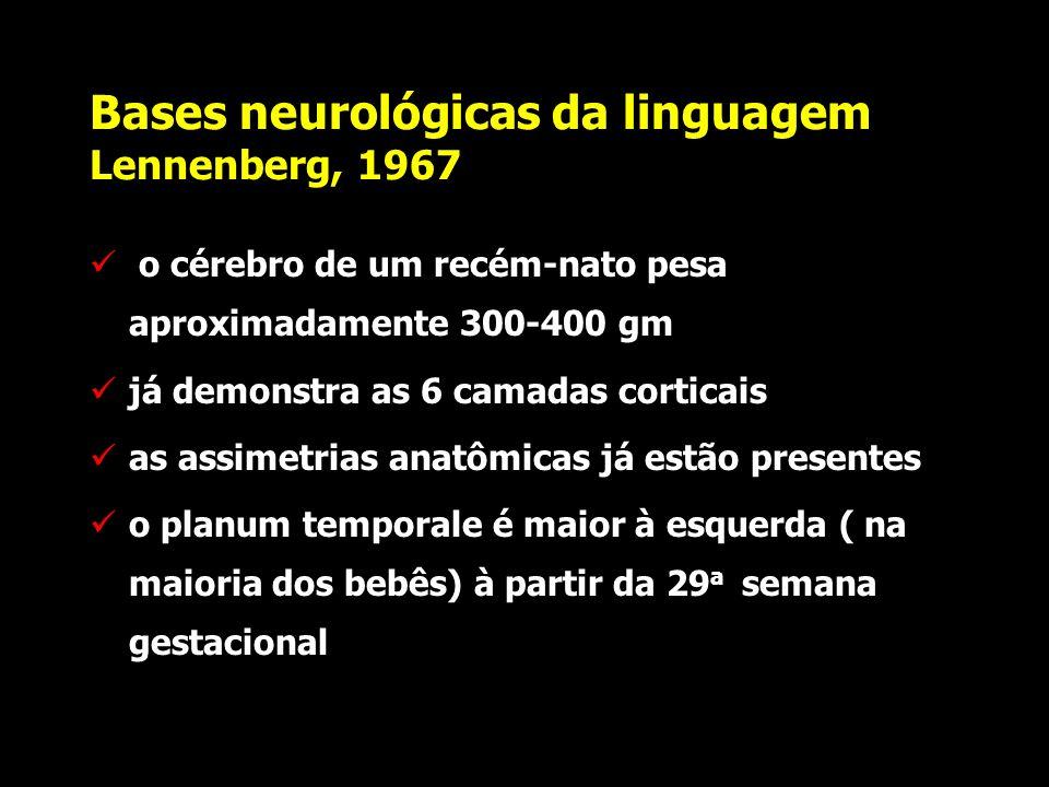 Bases neurológicas da linguagem Lennenberg, 1967 3) existe plasticidade inter-hemisférica para o desenvolvimento da linguagem; esta plasticidade é nec