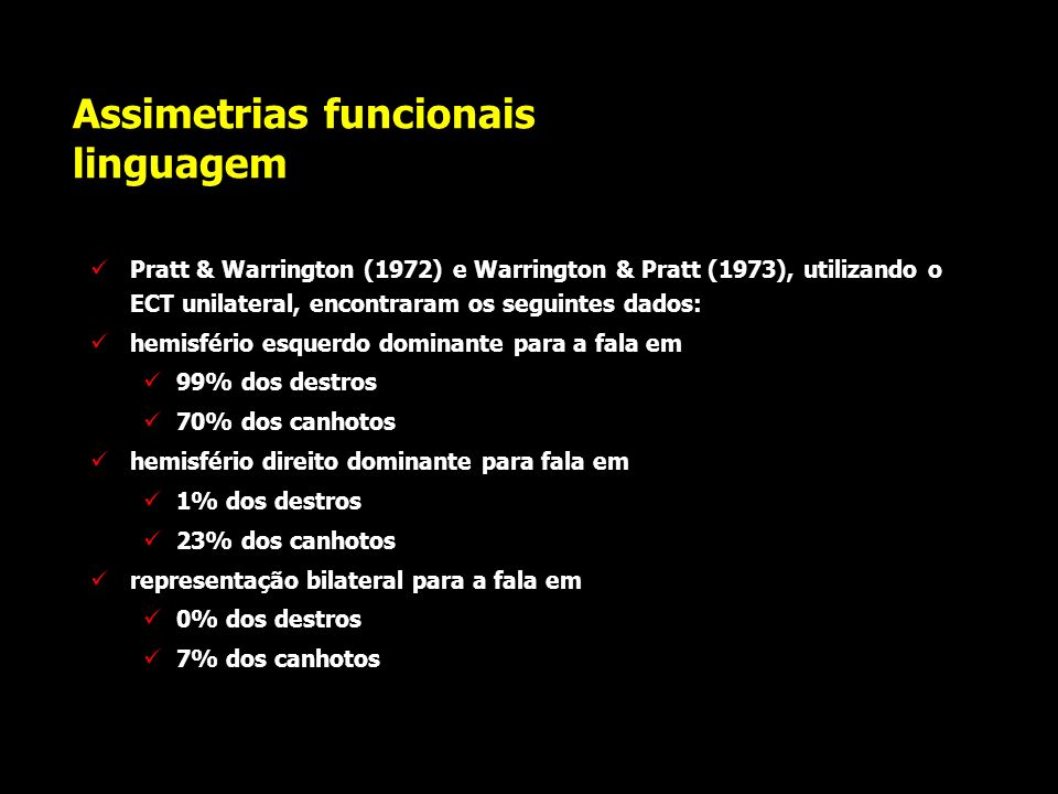 Assimetrias funcionais linguagem utilizando o teste de Wada, Millner (1975) encontrou: hemisfério esquerdo dominante para a fala em 96% dos destros 70