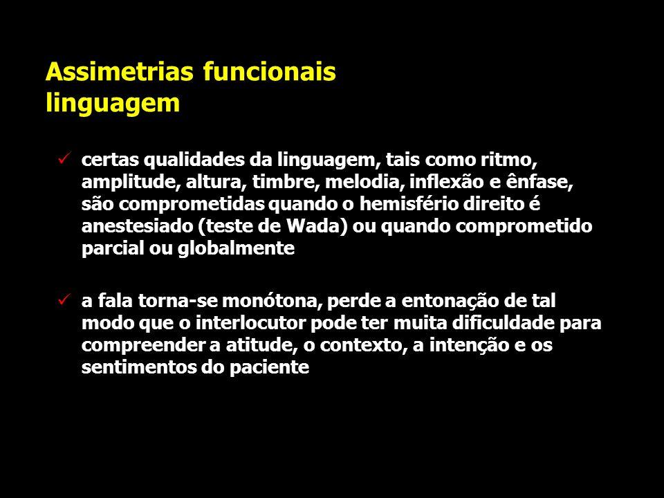 Assimetrias funcionais linguagem testes de audição dicótica em indivíduos normais parecem ser um procedimento menos confiável do que os anteriores par