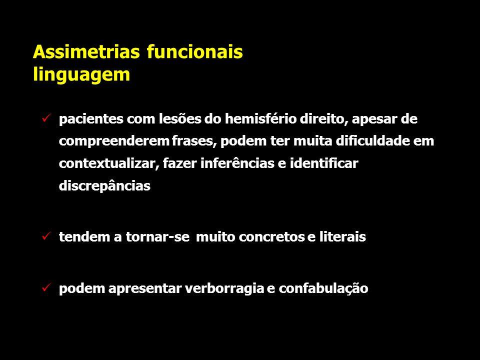 Assimetrias funcionais linguagem sabe-se, hoje, que o hemisfério direito é superior ao esquerdo para distinguir, interpretar e processar nuances infle