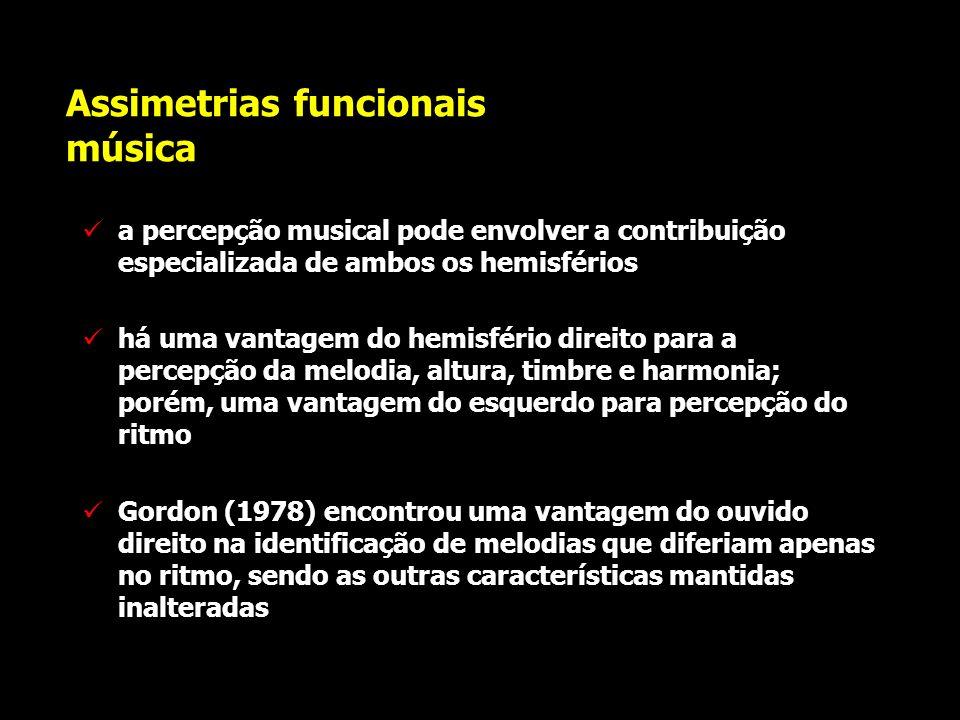 Assimetrias funcionais linguagem em crianças Woods & Teuber (1978) publicaram estudo realizado com 65 crianças com lesões unilaterais que haviam ocorr