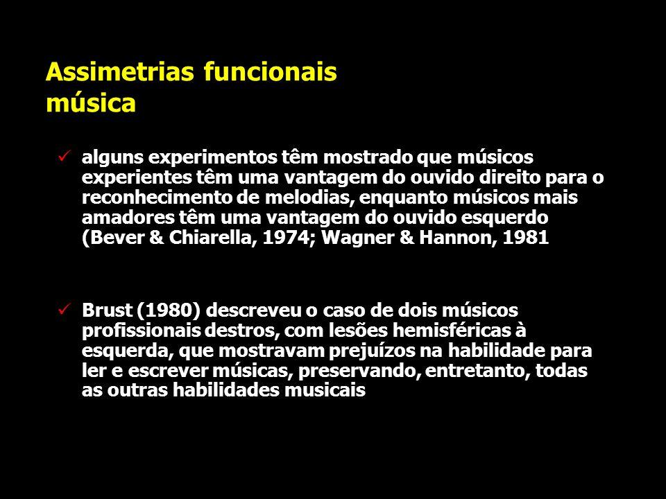 Assimetrias funcionais música a percepção musical pode envolver a contribuição especializada de ambos os hemisférios há uma vantagem do hemisfério dir