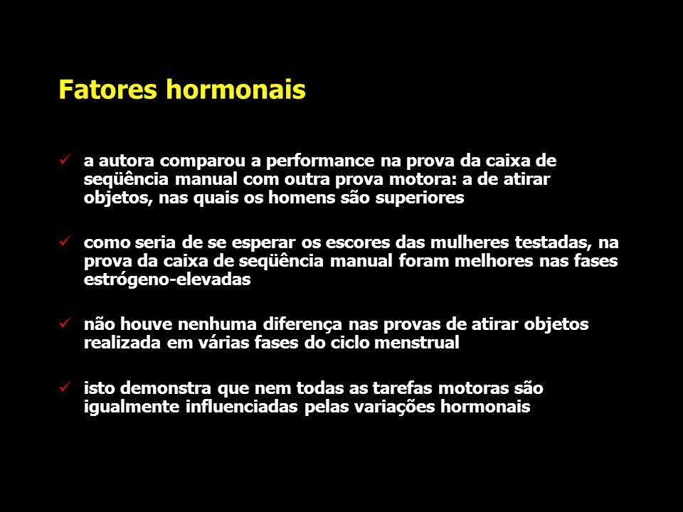Fatores hormonais Hampson observou uma atividade motora que era melhor executada nas fases estrógeno-elevadas: caixa de seqüência manual nesta tarefa