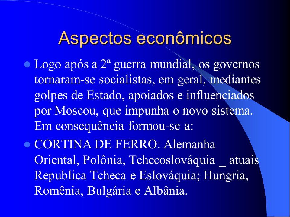 Aspectos econômicos Logo após a 2ª guerra mundial, os governos tornaram-se socialistas, em geral, mediantes golpes de Estado, apoiados e influenciados