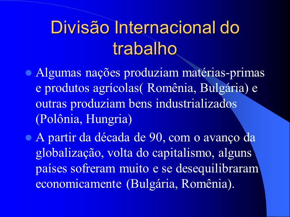 Divisão Internacional do trabalho Algumas nações produziam matérias-primas e produtos agrícolas( Romênia, Bulgária) e outras produziam bens industrial