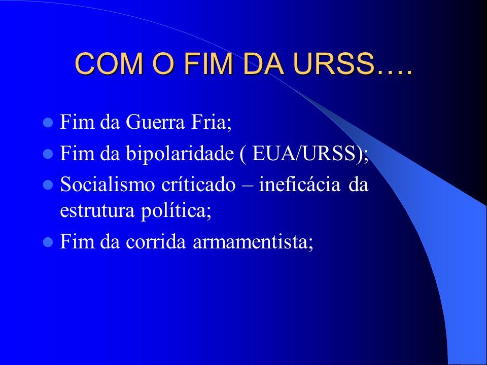 COM O FIM DA URSS…. Fim da Guerra Fria; Fim da bipolaridade ( EUA/URSS); Socialismo críticado – ineficácia da estrutura política; Fim da corrida armam