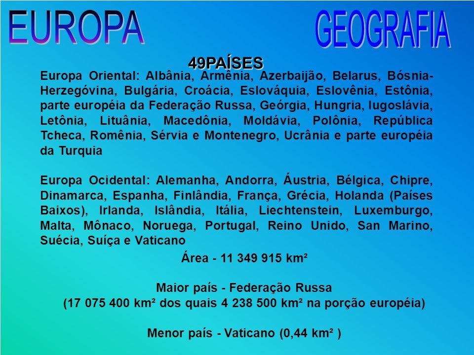 Europa Oriental: Albânia, Armênia, Azerbaijão, Belarus, Bósnia- Herzegóvina, Bulgária, Croácia, Eslováquia, Eslovênia, Estônia, parte européia da Fede
