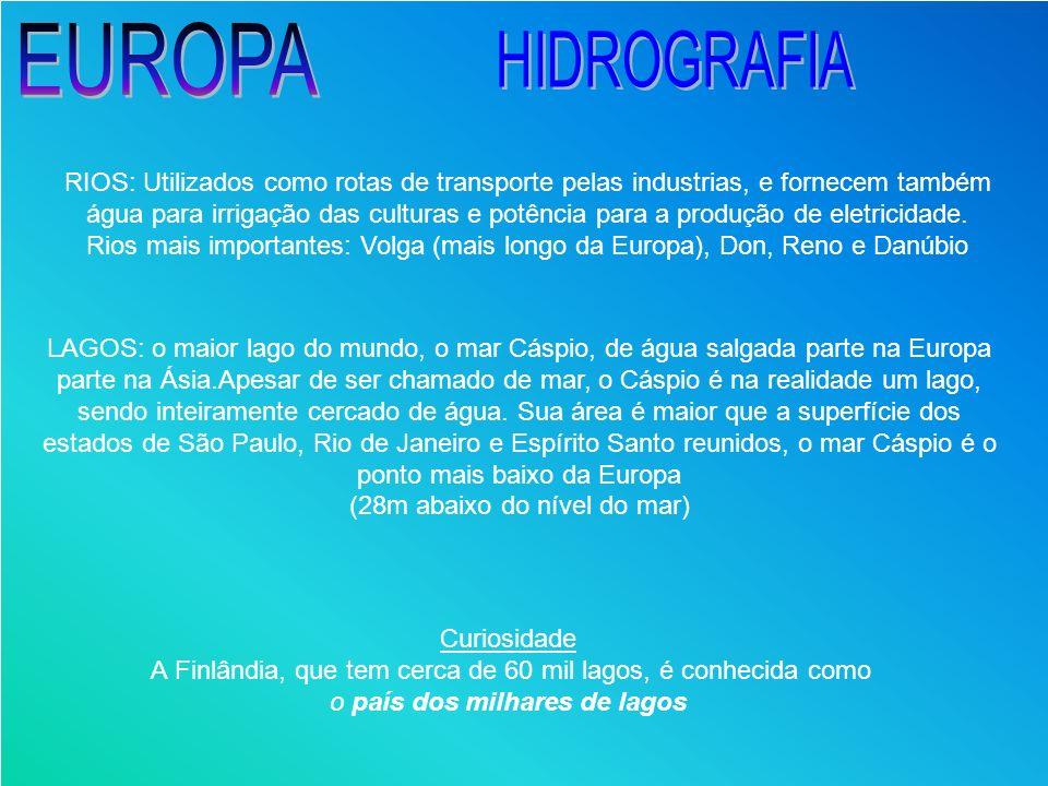 RIOS: Utilizados como rotas de transporte pelas industrias, e fornecem também água para irrigação das culturas e potência para a produção de eletricid