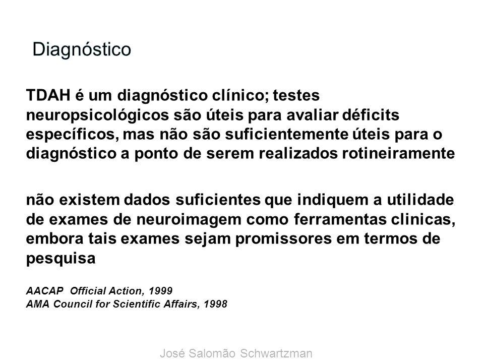 TDAH é um diagnóstico clínico; testes neuropsicológicos são úteis para avaliar déficits específicos, mas não são suficientemente úteis para o diagnóstico a ponto de serem realizados rotineiramente não existem dados suficientes que indiquem a utilidade de exames de neuroimagem como ferramentas clinicas, embora tais exames sejam promissores em termos de pesquisa AACAP Official Action, 1999 AMA Council for Scientific Affairs, 1998 José Salomão Schwartzman