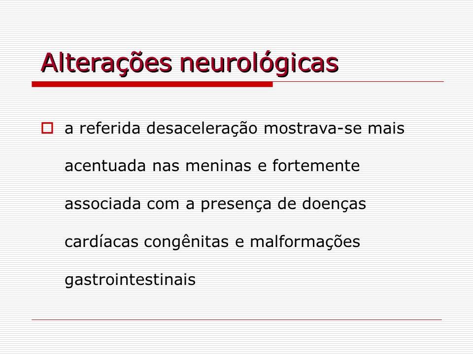 Alterações neurológicas a referida desaceleração mostrava-se mais acentuada nas meninas e fortemente associada com a presença de doenças cardíacas con