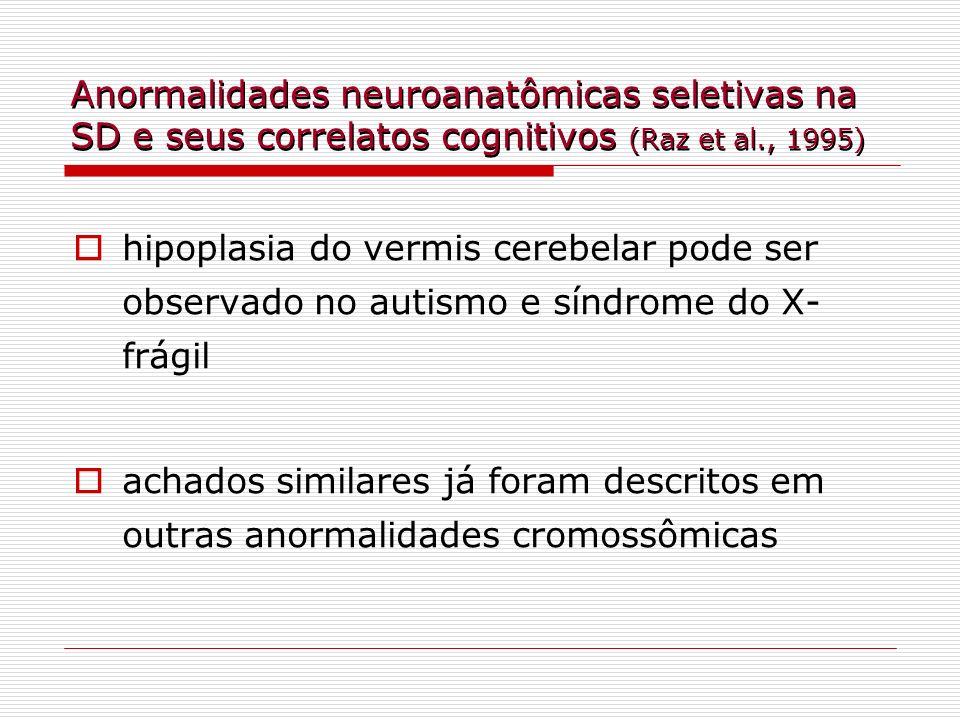 hipoplasia do vermis cerebelar pode ser observado no autismo e síndrome do X- frágil achados similares já foram descritos em outras anormalidades crom