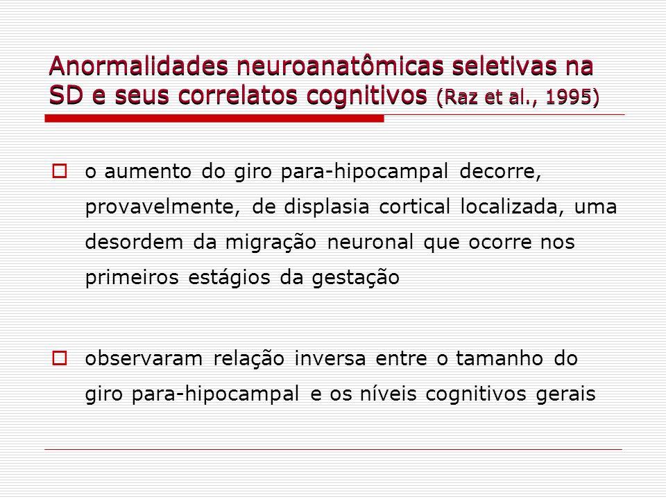 Anormalidades neuroanatômicas seletivas na SD e seus correlatos cognitivos (Raz et al., 1995) o aumento do giro para-hipocampal decorre, provavelmente