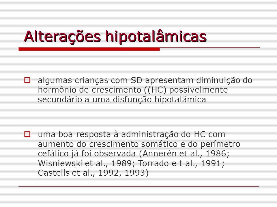 Alterações hipotalâmicas algumas crianças com SD apresentam diminuição do hormônio de crescimento ((HC) possivelmente secundário a uma disfunção hipot
