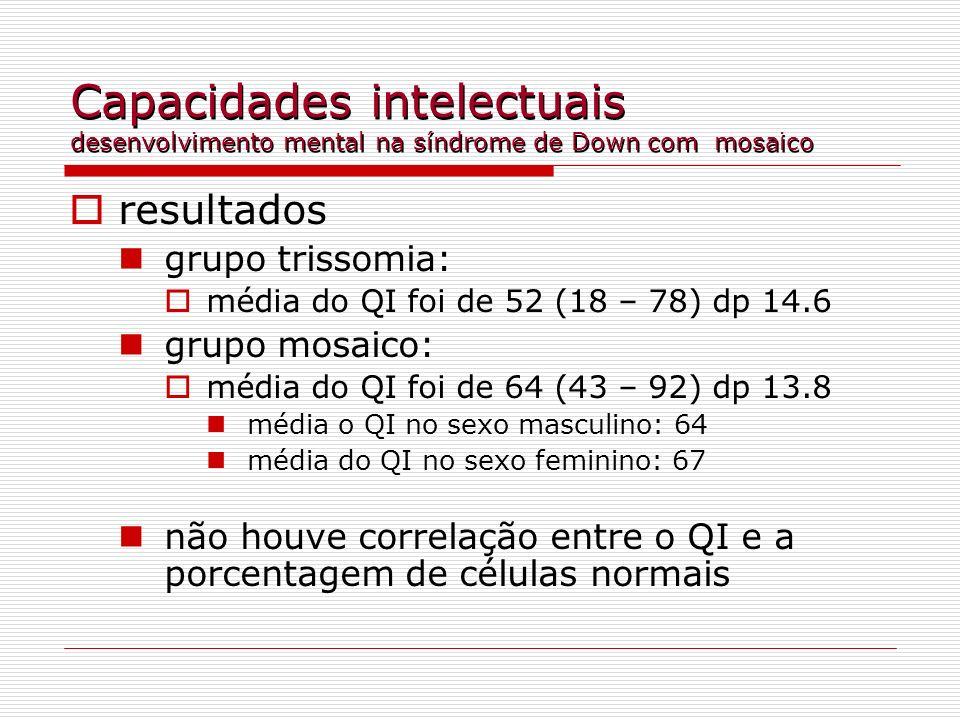 Capacidades intelectuais desenvolvimento mental na síndrome de Down com mosaico resultados grupo trissomia: média do QI foi de 52 (18 – 78) dp 14.6 gr