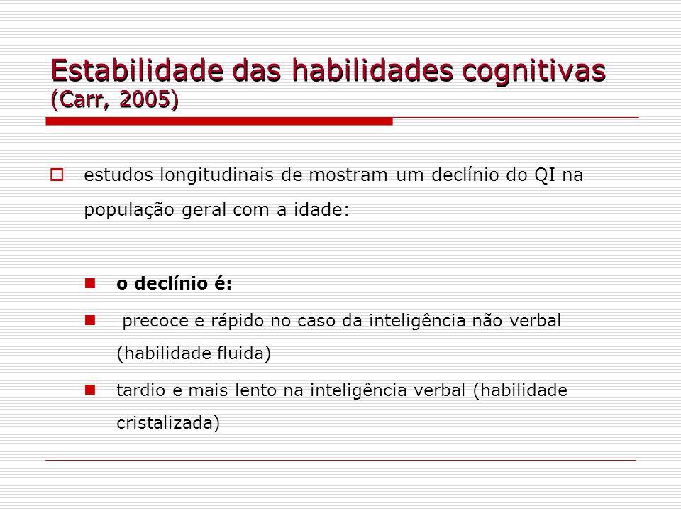 Estabilidade das habilidades cognitivas (Carr, 2005) estudos longitudinais de mostram um declínio do QI na população geral com a idade: o declínio é: