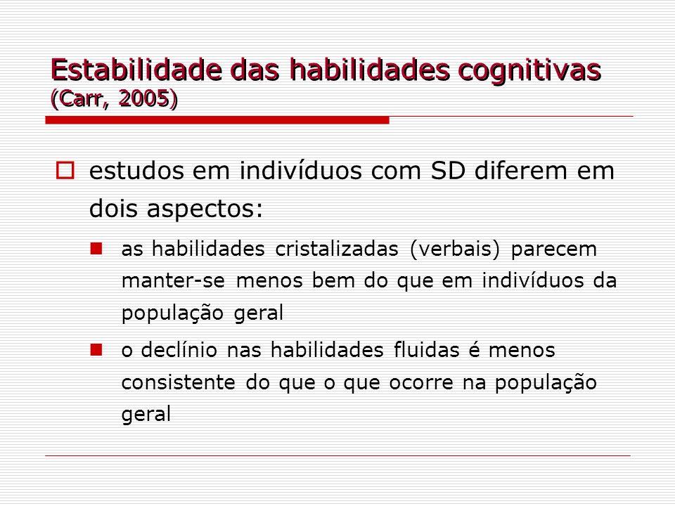 Estabilidade das habilidades cognitivas (Carr, 2005) estudos em indivíduos com SD diferem em dois aspectos: as habilidades cristalizadas (verbais) par