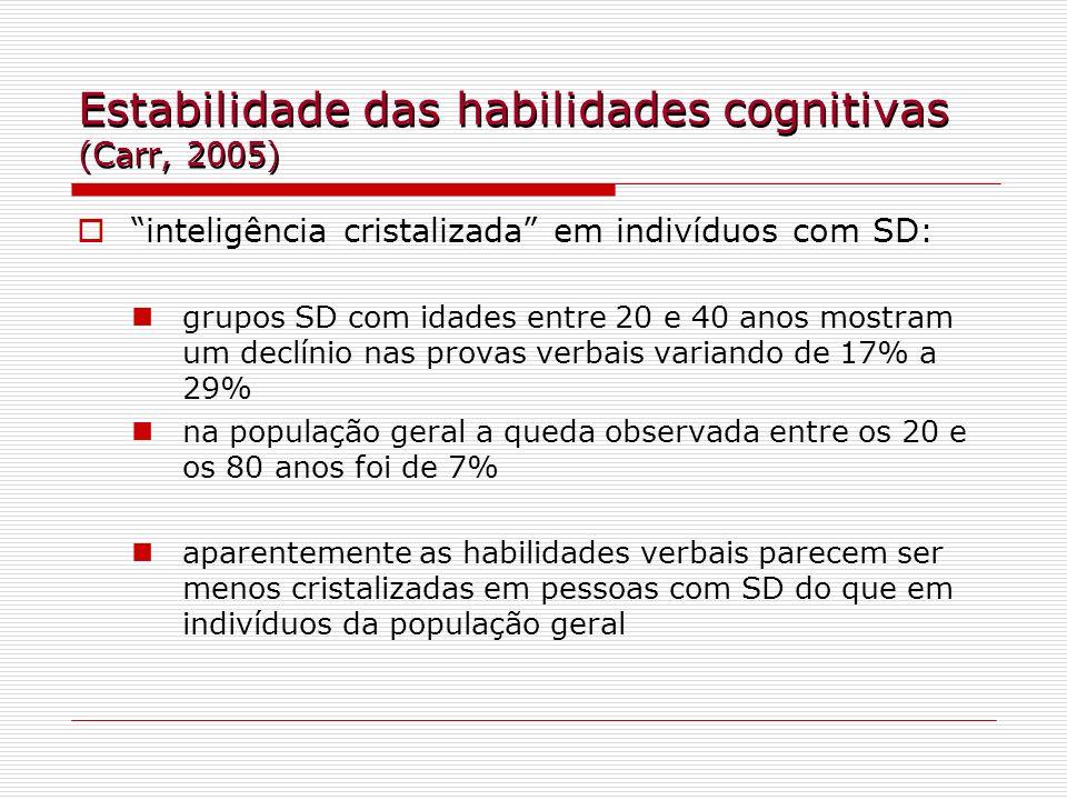 Estabilidade das habilidades cognitivas (Carr, 2005) inteligência cristalizada em indivíduos com SD: grupos SD com idades entre 20 e 40 anos mostram u