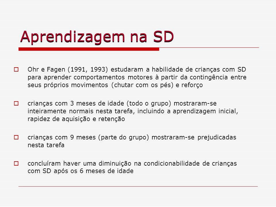 Aprendizagem na SD Ohr e Fagen (1991, 1993) estudaram a habilidade de crianças com SD para aprender comportamentos motores à partir da contingência en