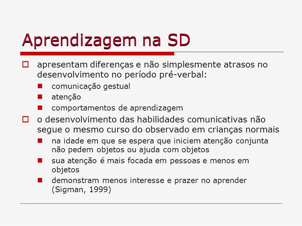 Aprendizagem na SD apresentam diferenças e não simplesmente atrasos no desenvolvimento no período pré-verbal: comunicação gestual atenção comportament