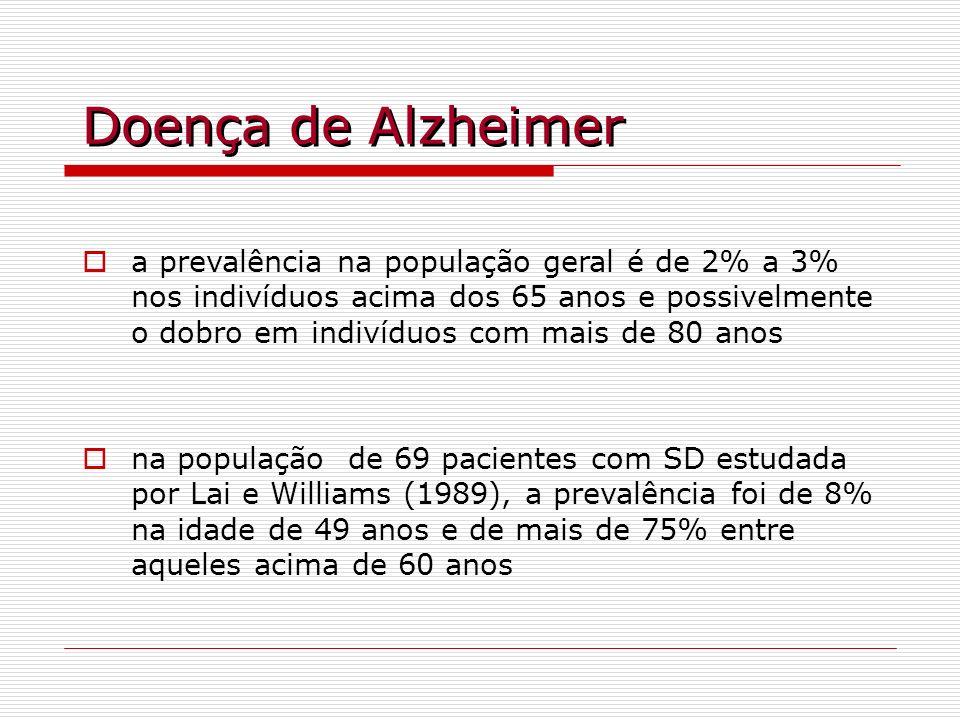 Doença de Alzheimer a prevalência na população geral é de 2% a 3% nos indivíduos acima dos 65 anos e possivelmente o dobro em indivíduos com mais de 8