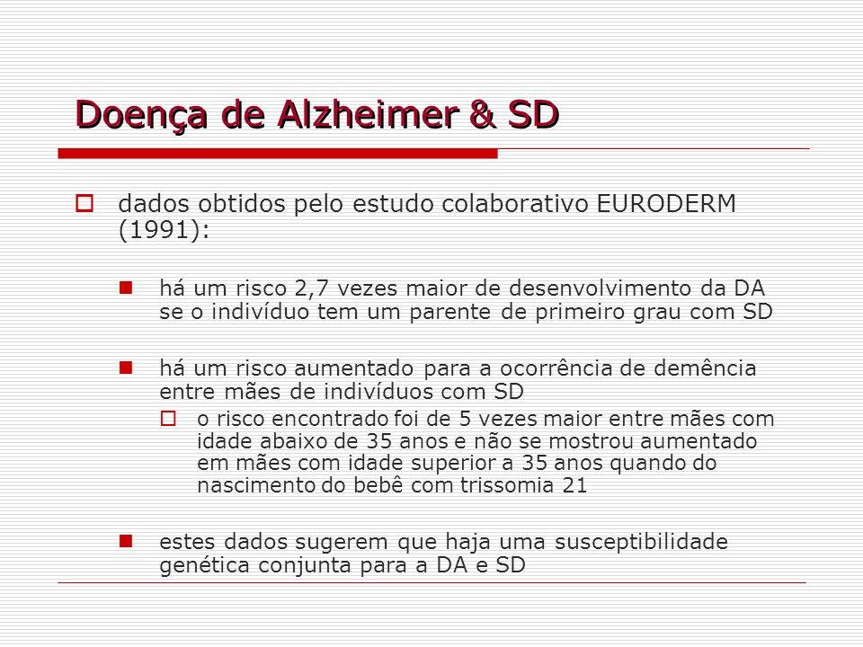Doença de Alzheimer & SD dados obtidos pelo estudo colaborativo EURODERM (1991): há um risco 2,7 vezes maior de desenvolvimento da DA se o indivíduo t