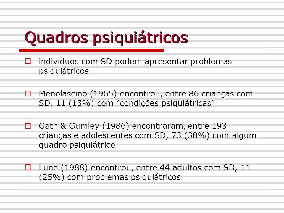 Quadros psiquiátricos indivíduos com SD podem apresentar problemas psiquiátricos Menolascino (1965) encontrou, entre 86 crianças com SD, 11 (13%) com
